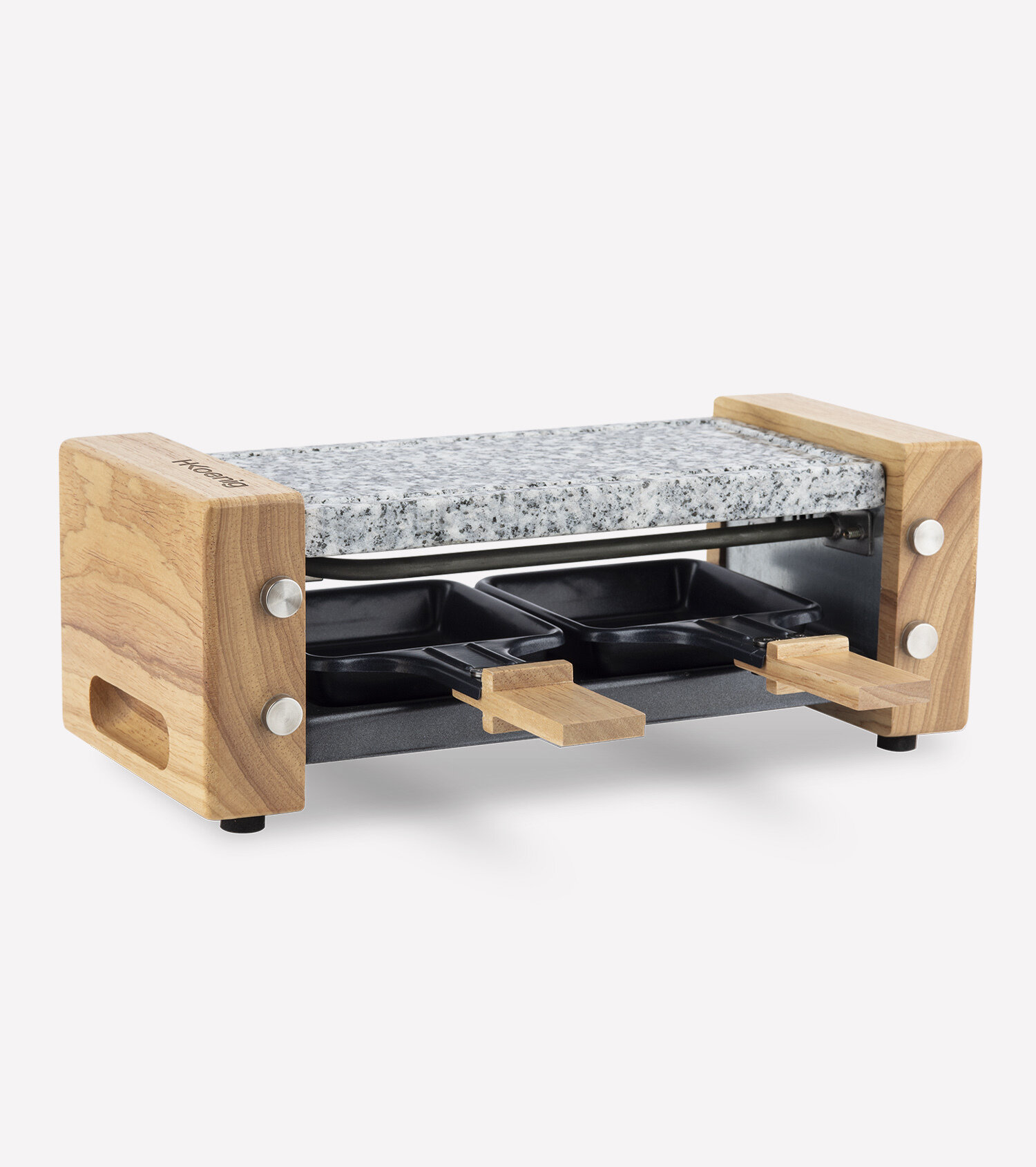 raclette and cooking stone 2 persons wooden design